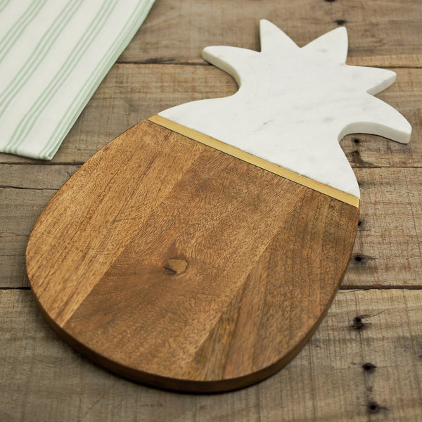 Wooden Pineapple Board with Marble