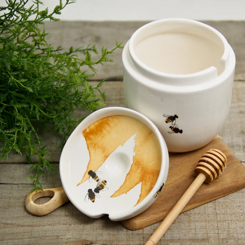Bee Honey Pot with Wooden Dipper