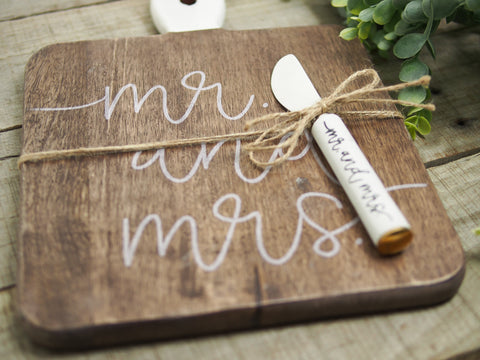 Mr. & Mrs. Serving Board With Knife