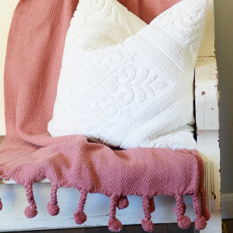 Cotton Throw with Pom Pom Tassels