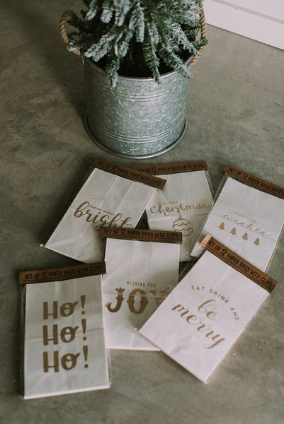 Holiday Paper Gift Bags with Wood Clips
