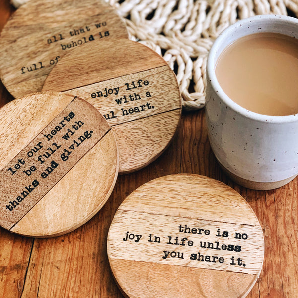 Thankful Wood Coaster Set