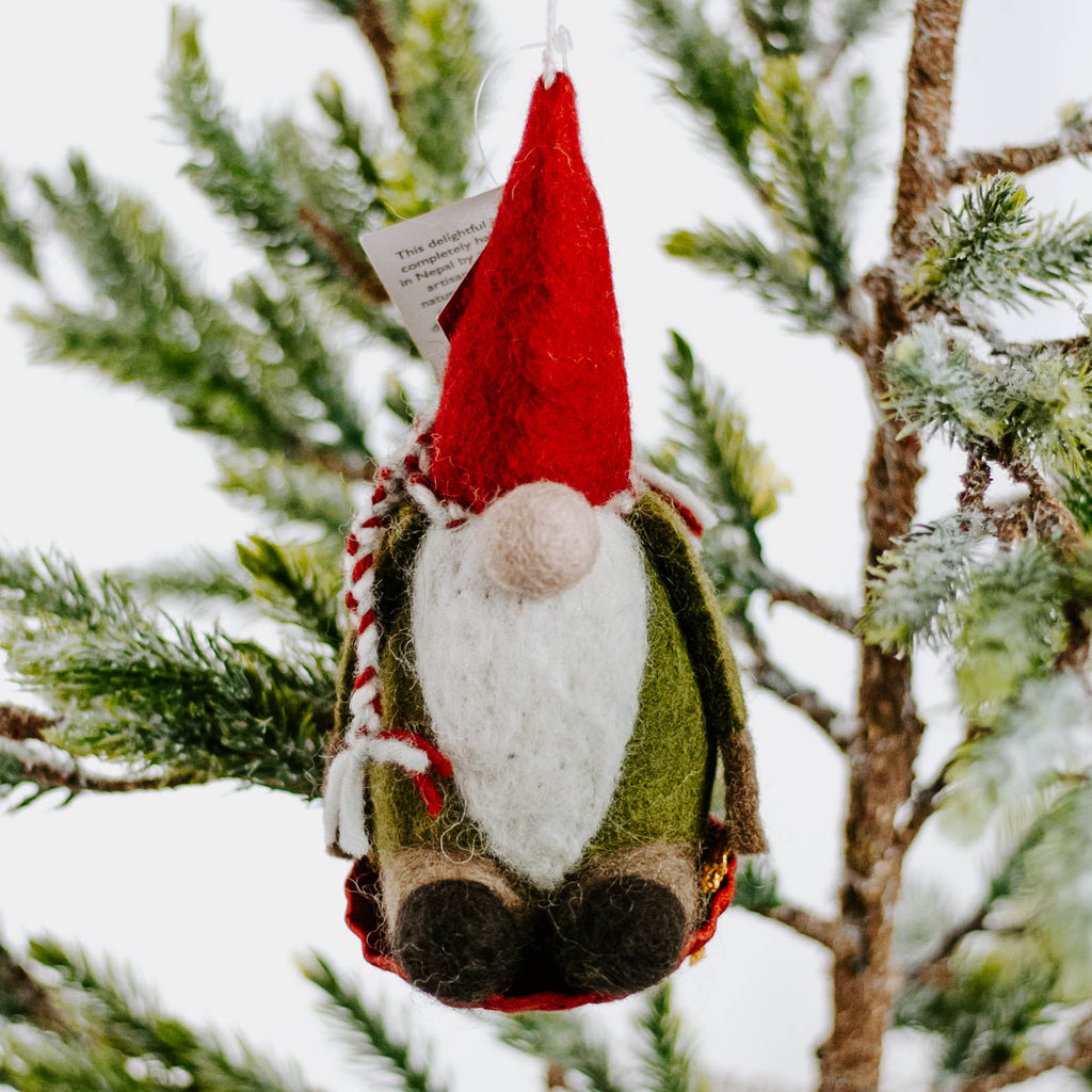 Felted Sledding Gnome Ornament