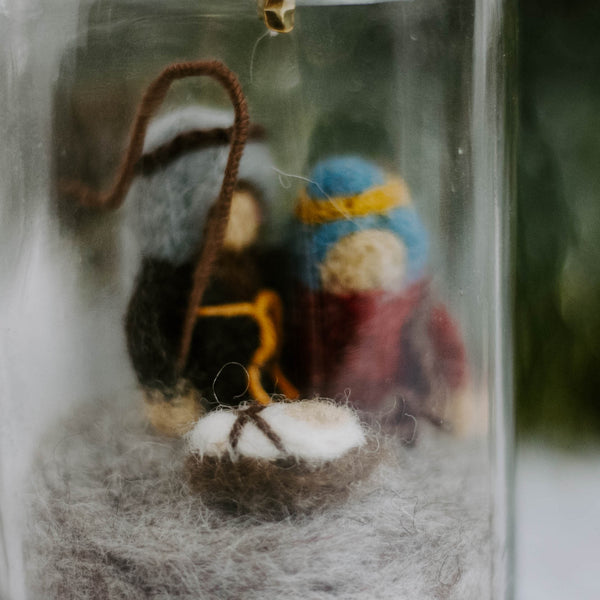 Glass Bottle Nativity Scene