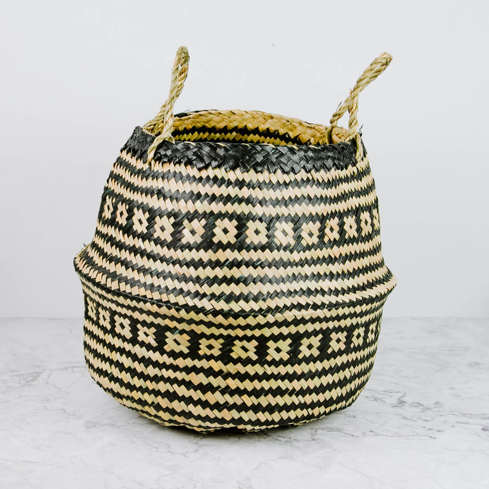 Natural & Black Round Seagrass Basket