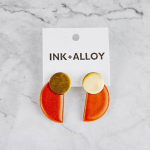 Brass & Ceramic Half Circle Earrings