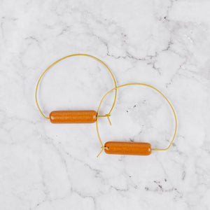 Brass & Ceramic Hoop Earrings
