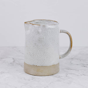 Pinched White Stoneware Pitcher