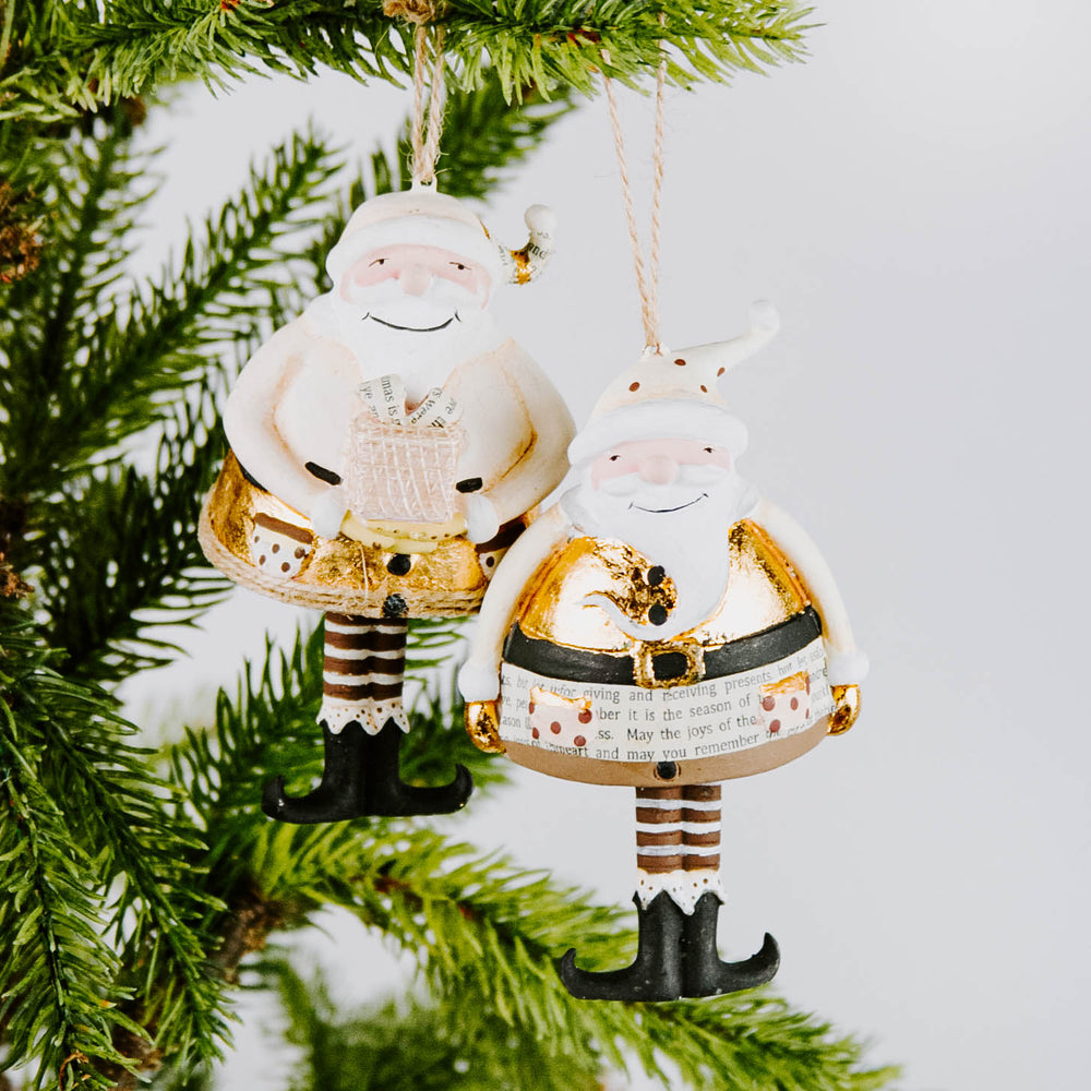 Gold Dangly Legged Santa Ornament