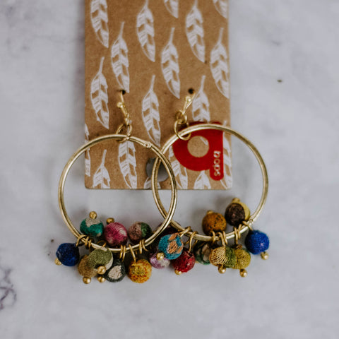 Sari Wrapped Bead Gold Hoop Earrings