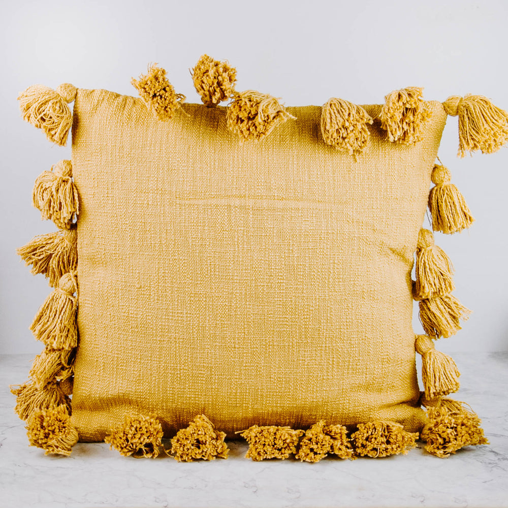 Fall Square Woven Tassel Pillow