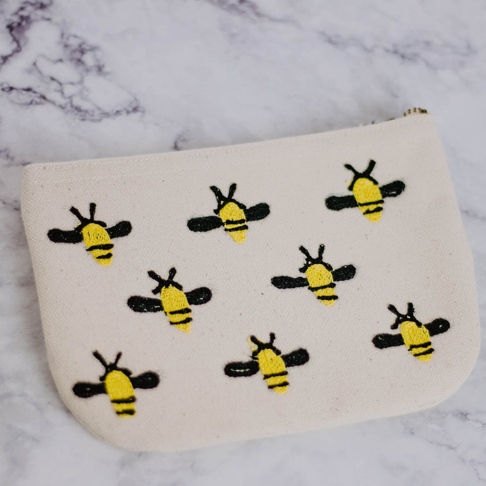Embroidered Bee Pouch