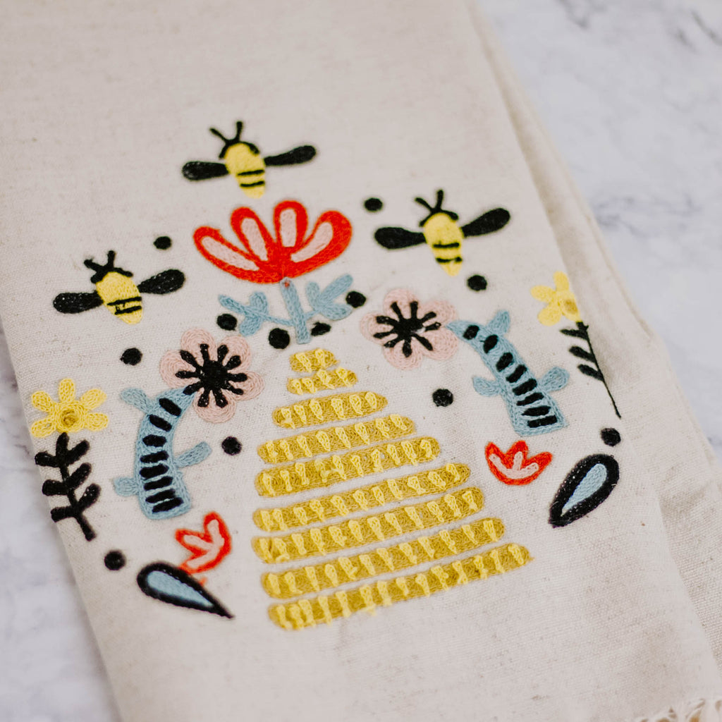 Embroidered Bee Tea Towel