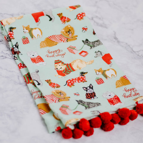 Holiday Dogs Pom Pom Dish Towel