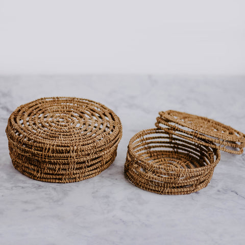 Hand-Woven Basket With Lid