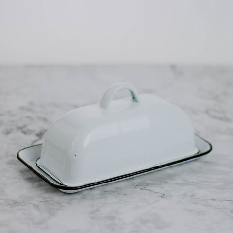 Black & White Enamelware Butter Dish
