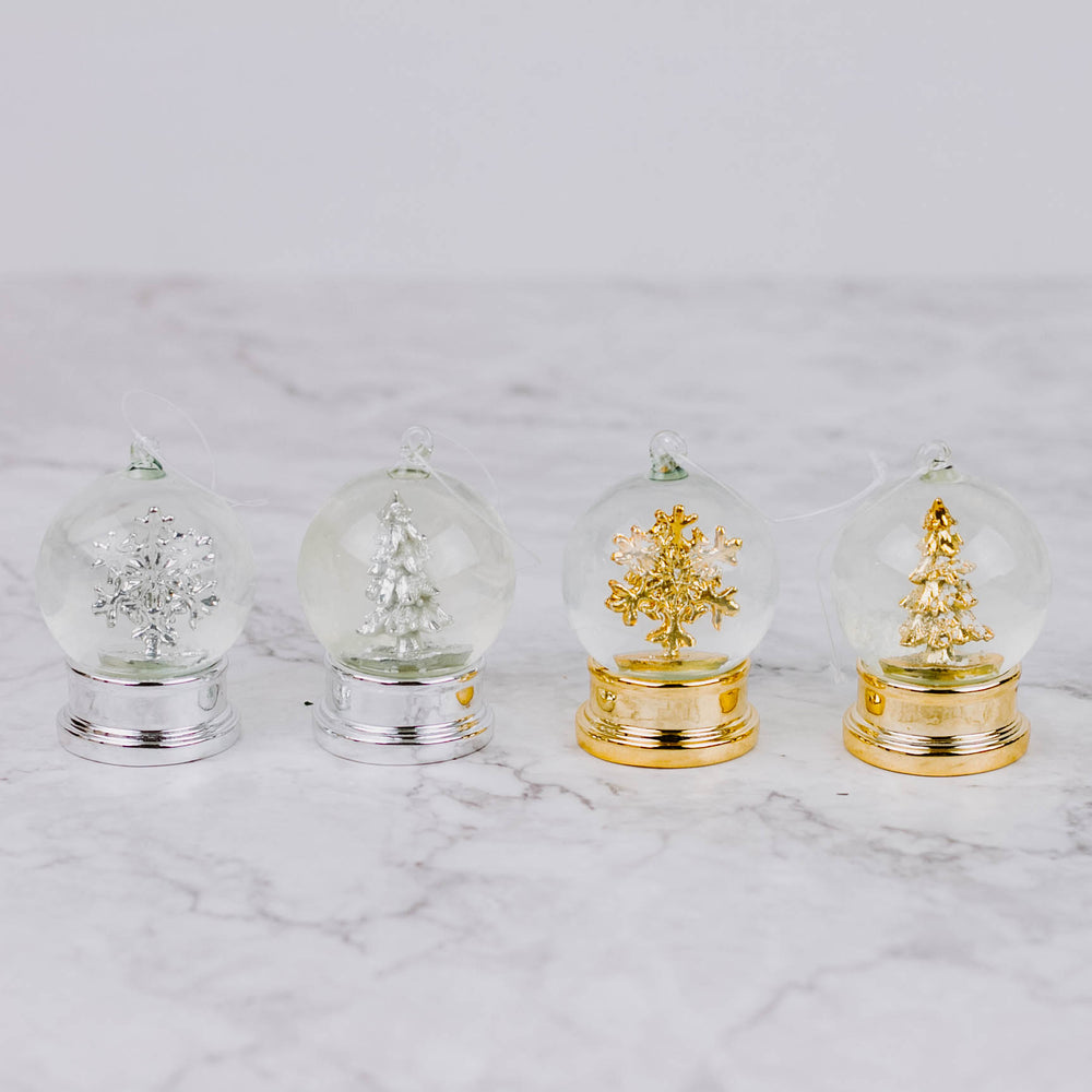Silver & Gold Snow Globe Ornament