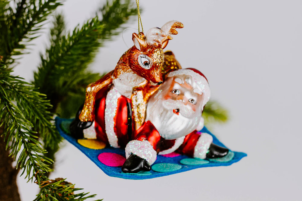Load image into Gallery viewer, Santa & Reindeer Playing Twister Ornament