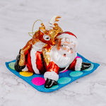 Santa & Reindeer Playing Twister Ornament