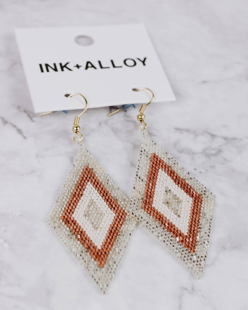 Silver & Rose Gold Beaded Diamond Earrings