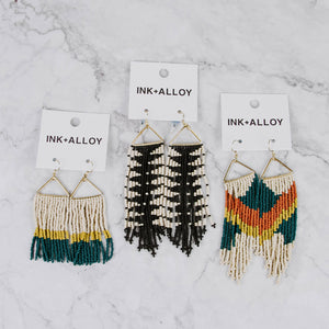 Load image into Gallery viewer, Gold Triangle Beaded Fringe Earrings