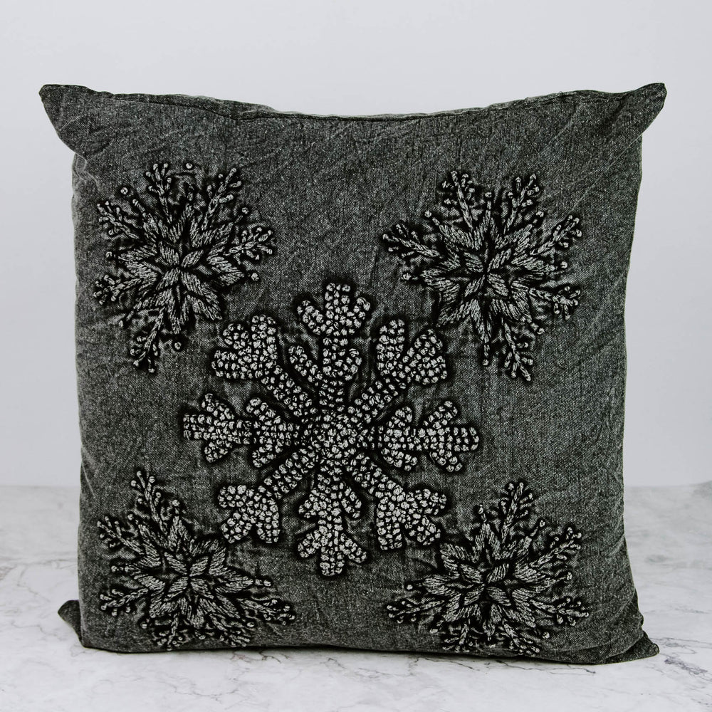 Load image into Gallery viewer, Charcoal Snowflake Pillow