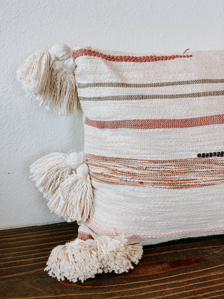 Striped Pillow with Embroidery