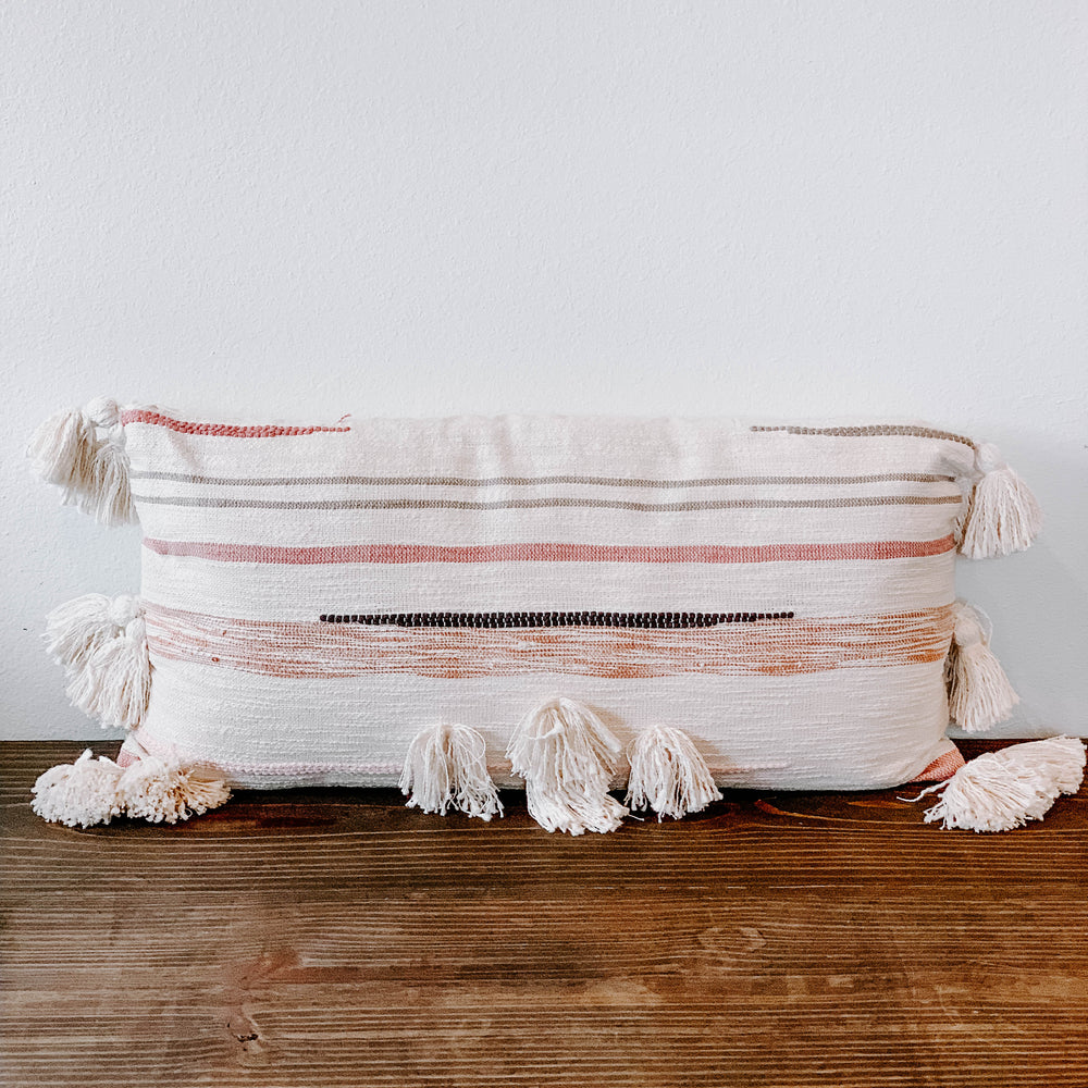Load image into Gallery viewer, Striped Pillow with Embroidery
