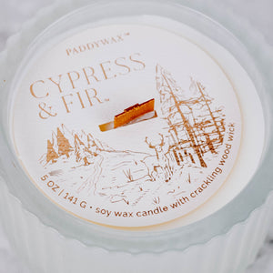 Cypress Fir Frosted Glass Candle