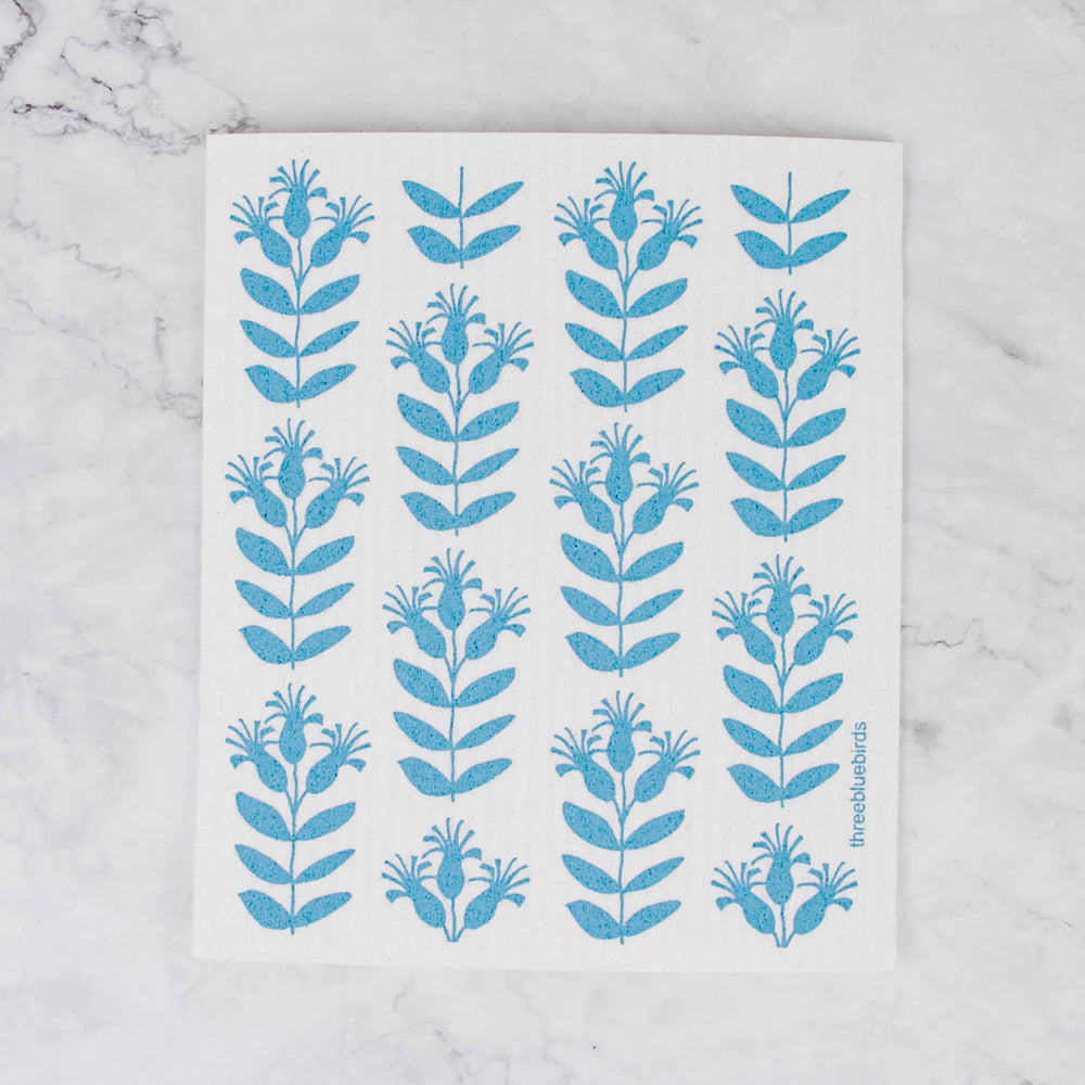 Three Bluebirds Swedish Dishcloth