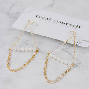Gold Chandelier Earrings with Pearls