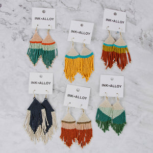 Colorblock Beaded Fringe Earrings