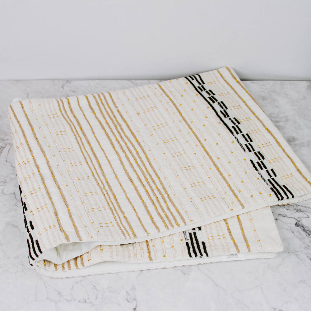 Embroidered Stripe Table Runner