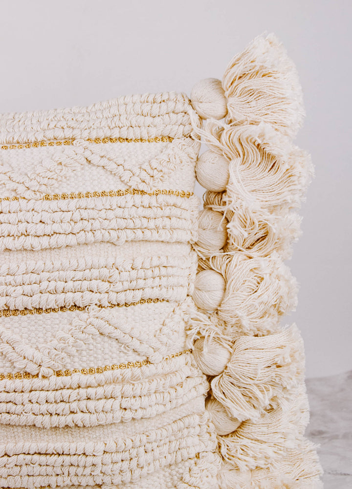 Striped Cream and Gold Tassel Pillow