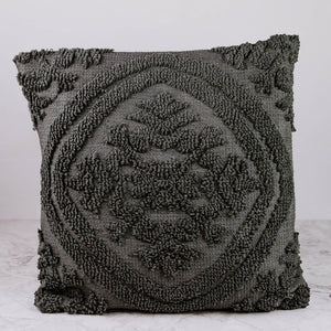 Gray Embroidered Pillow