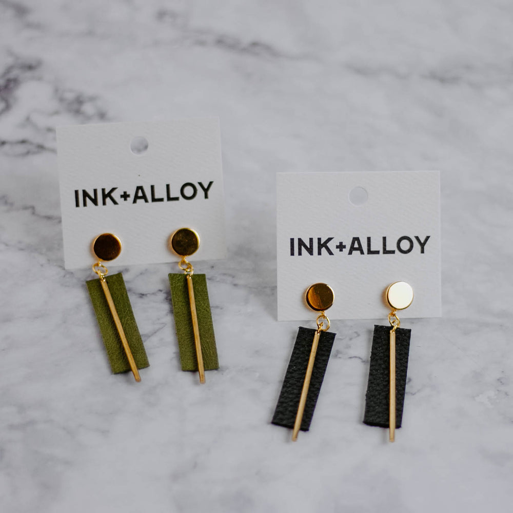 Leather & Brass Earrings