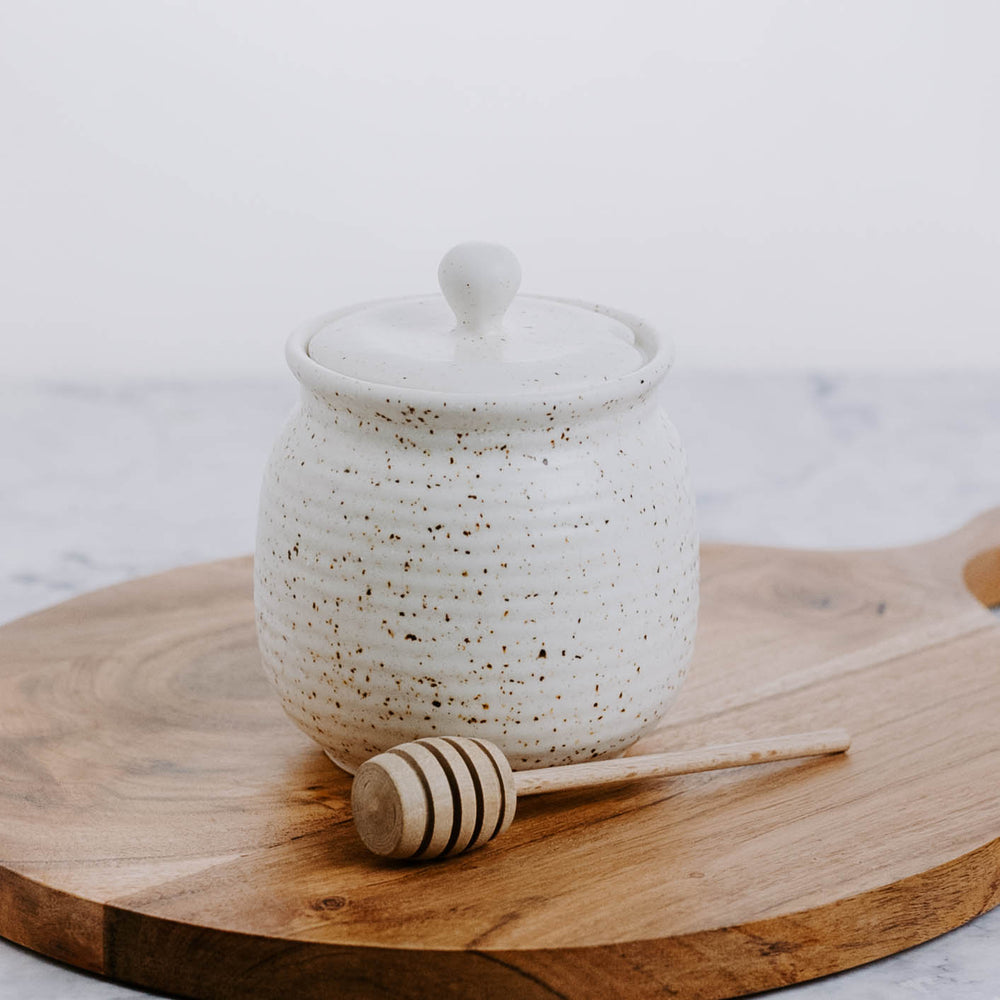 Speckled Stoneware Honey Pot with Wooden Dipper