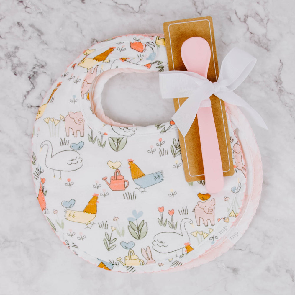 Spring Animal Bibs and Spoon Set