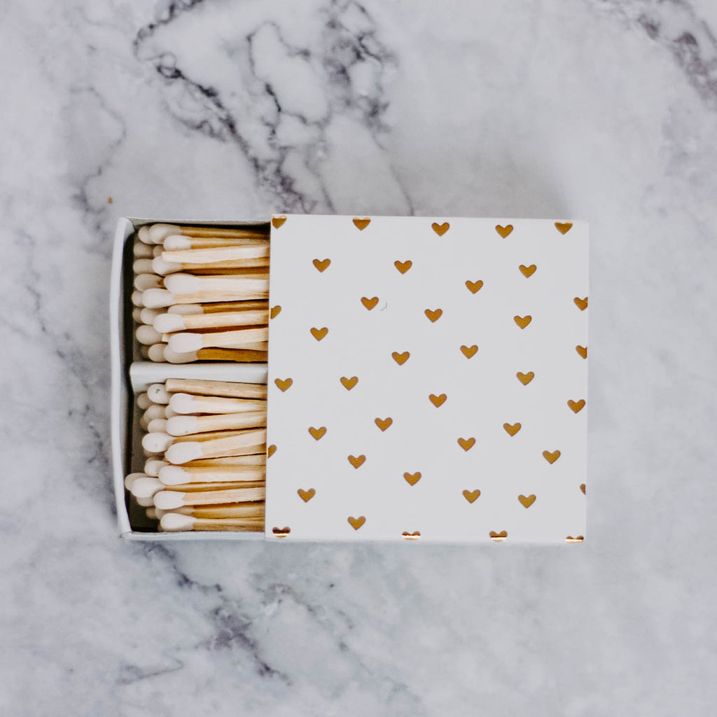 Gold Heart Match Box