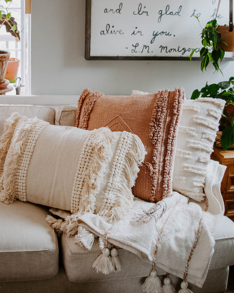Cozy Woven Cream Pillow