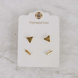 Geometric Stud Earring Set
