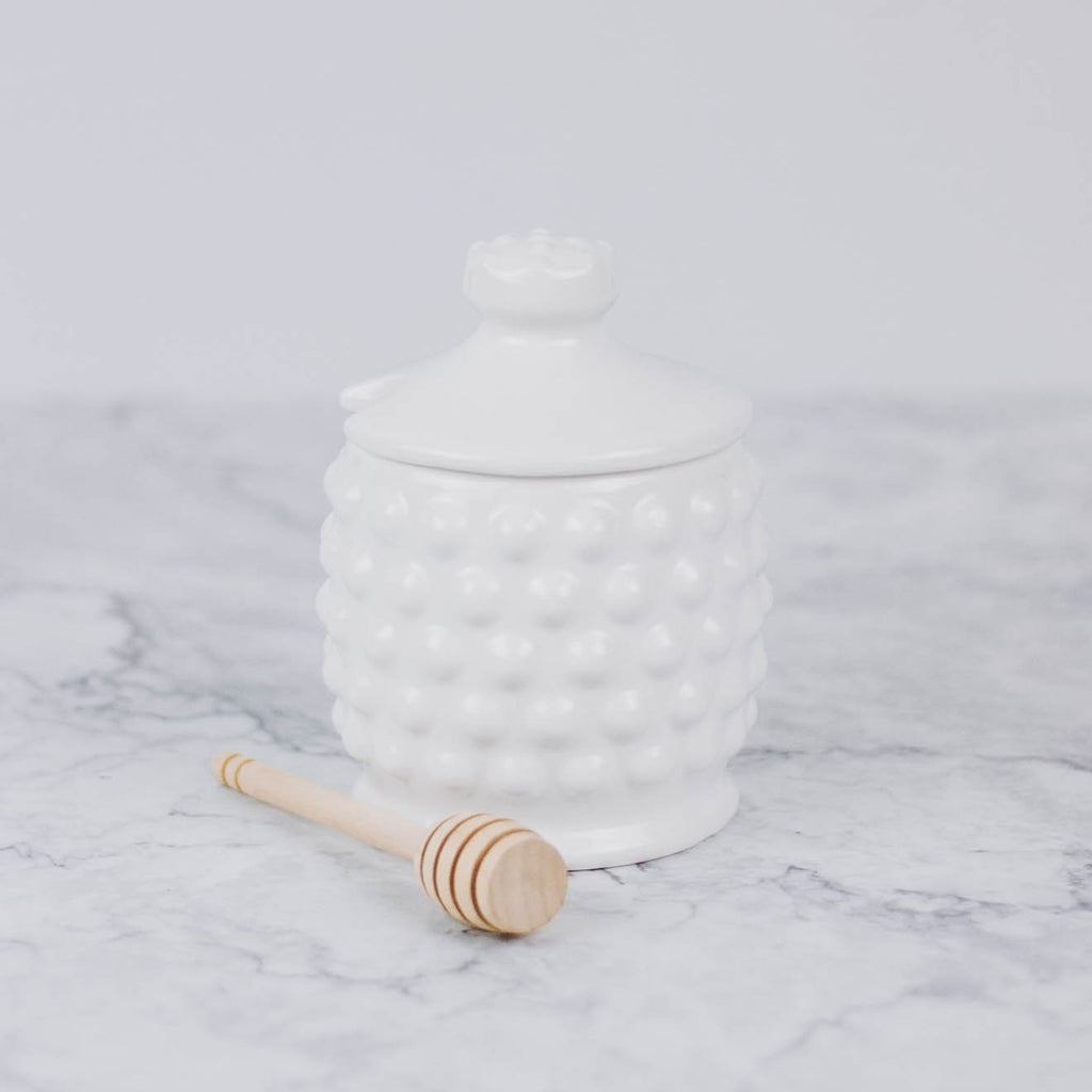 White Ceramic Honey Pot with Wooden Dipper