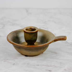Brown Stoneware Candle Holder