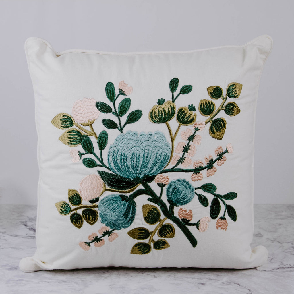 Embroidered Blue Floral Pillow