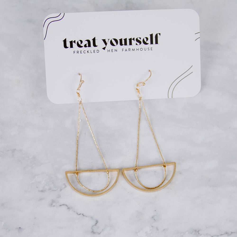 Gold Dangle Half Moon Earrings