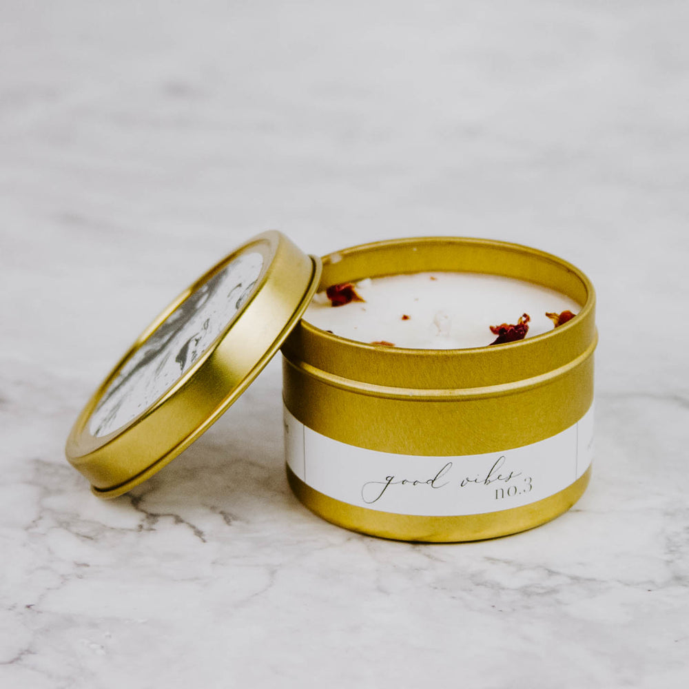 Marble & Gold Tin Candle