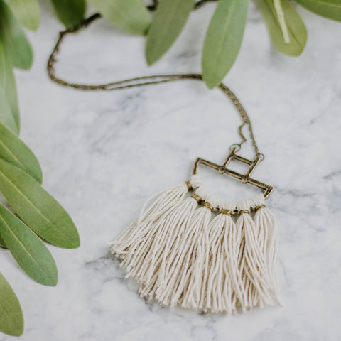 Boho Cotton Fringe Necklace