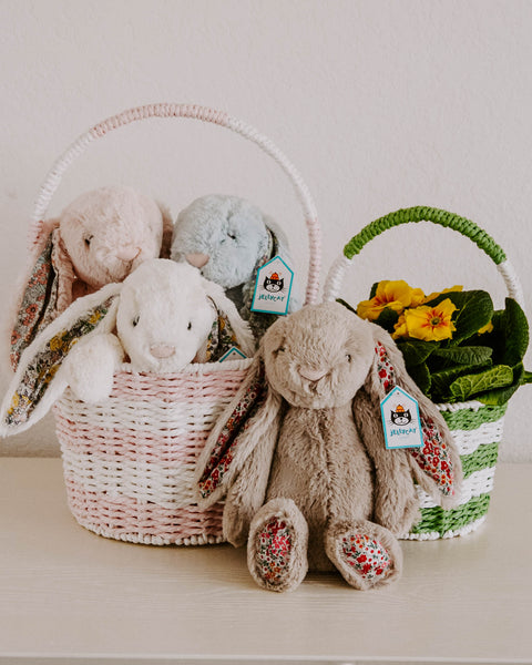 Plush Easter Bunnies with Floral Ears