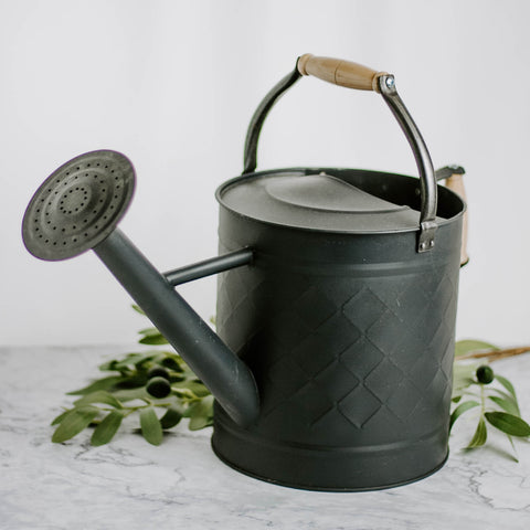 Black Watering Can with Wood Handle