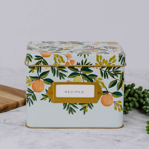 Floral Tin Recipe Box